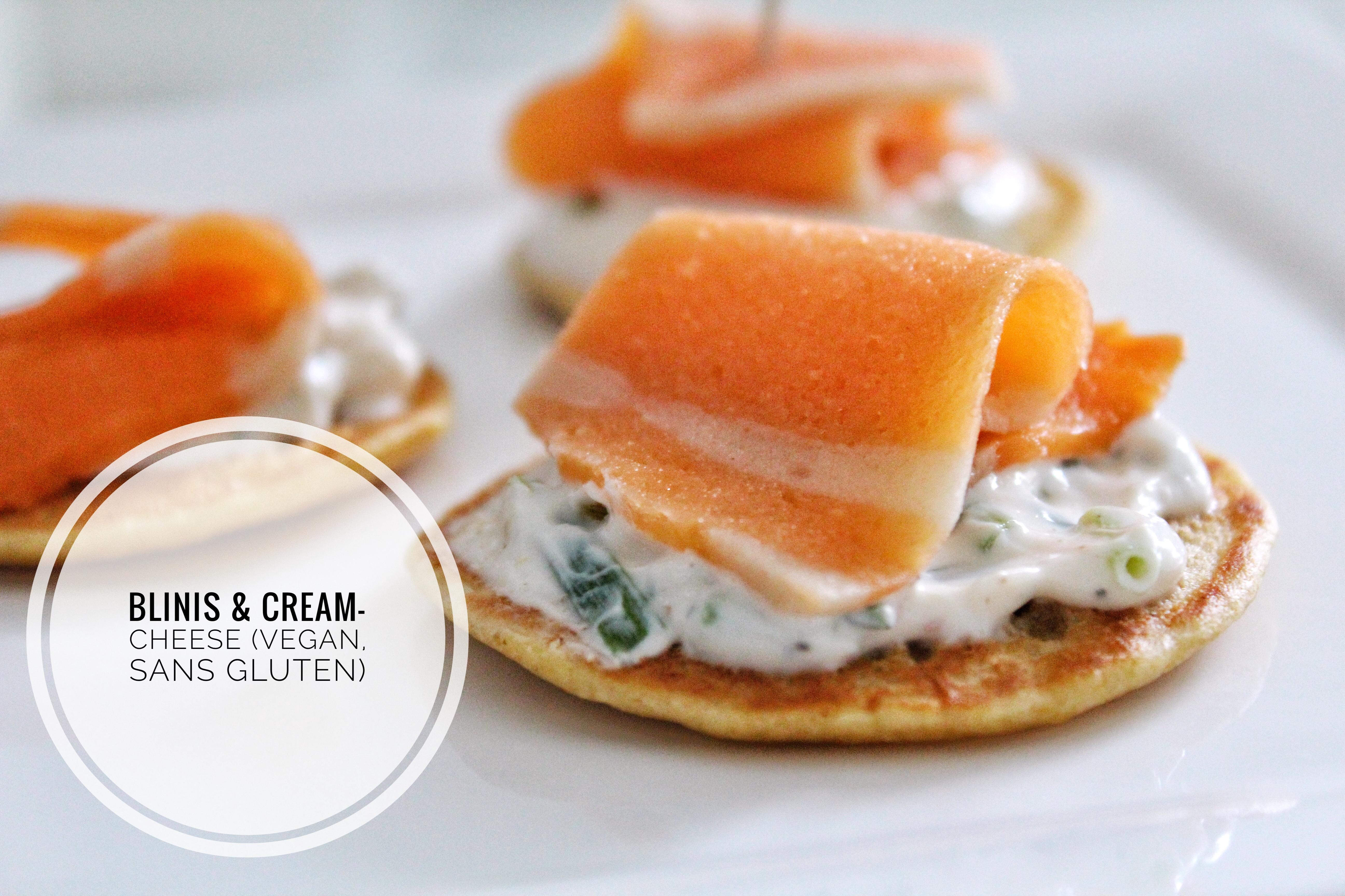 Blinis vegan sans gluten sans lactose végétarien sans œufs saumon fumé caviar cream cheese