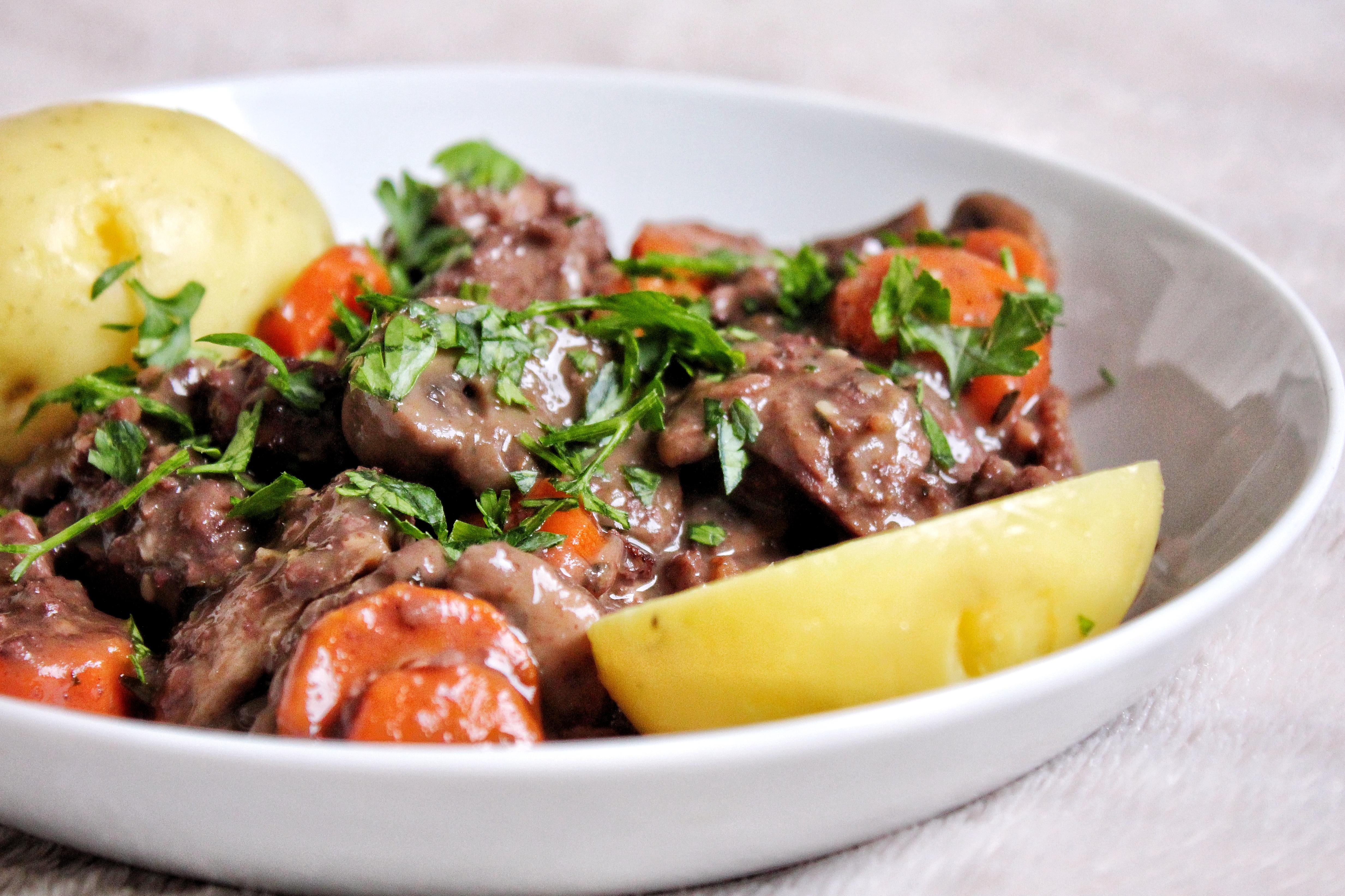 Bœuf bourguignon vegan végétarien sans gluten sans lactose sans viande bio