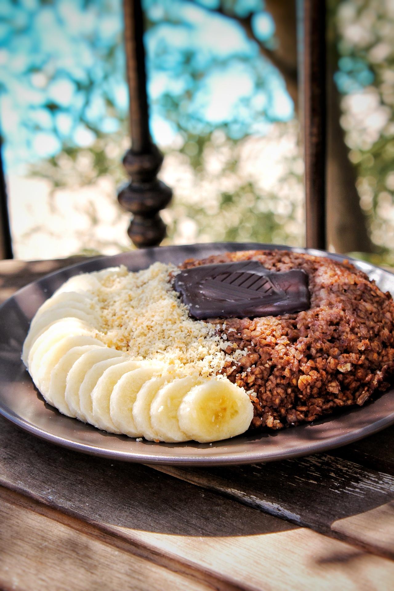 Bowl Cake chocolat noix de coco vegan sans gluten sans lactose vacances