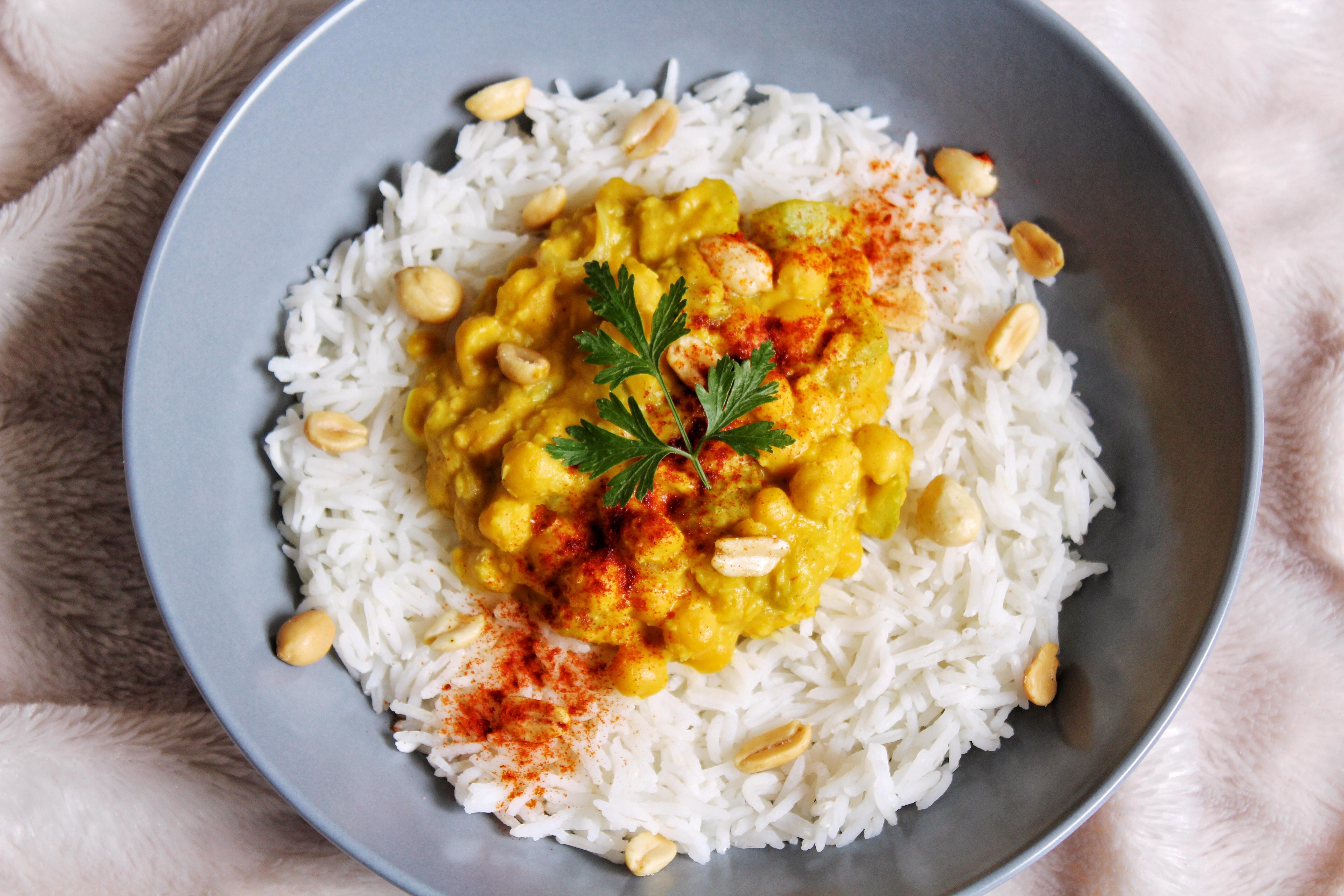 Curry pois chiches lait coco patate douce vegan sans gluten sans lactose