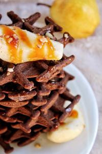 Gaufres chocolat caramel beurre salé poire pralin vegan sans gluten sans lactose sans œufs