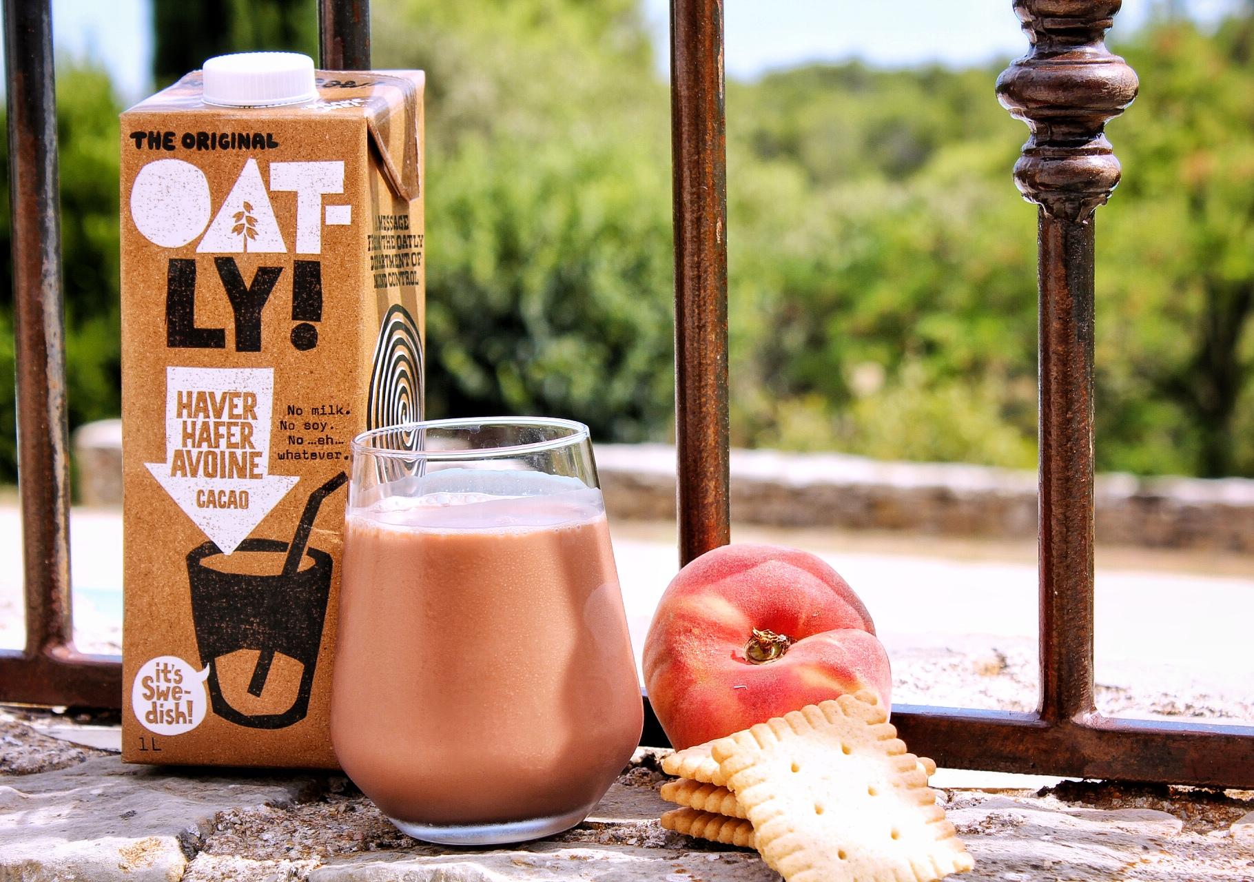 Goûter oatly chocolat pêche biscuits vegan sans gluten sans lactose