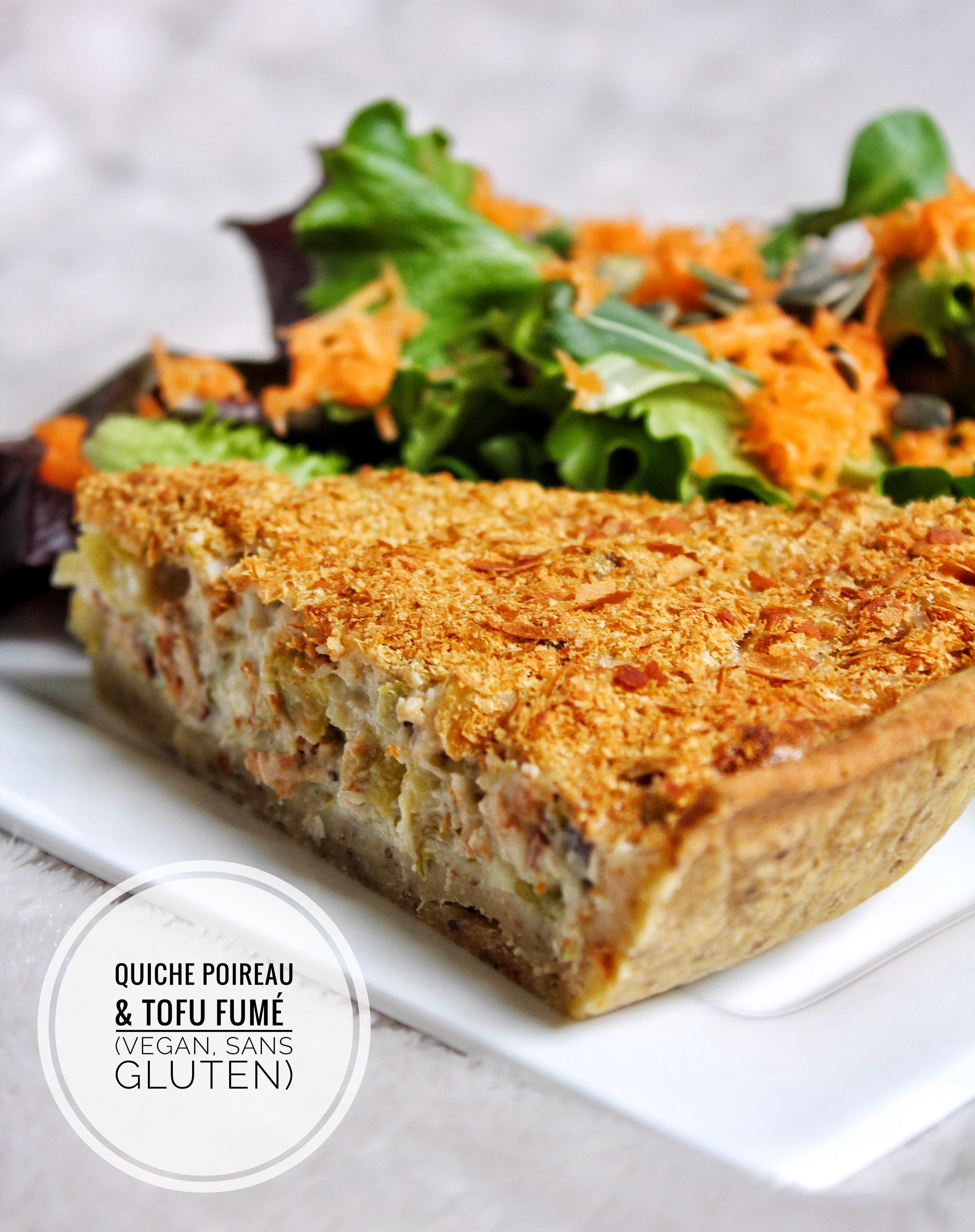 Quiche lorraine poireau tofu fumé vegan végétarien sans gluten sans lactose sans oeufs