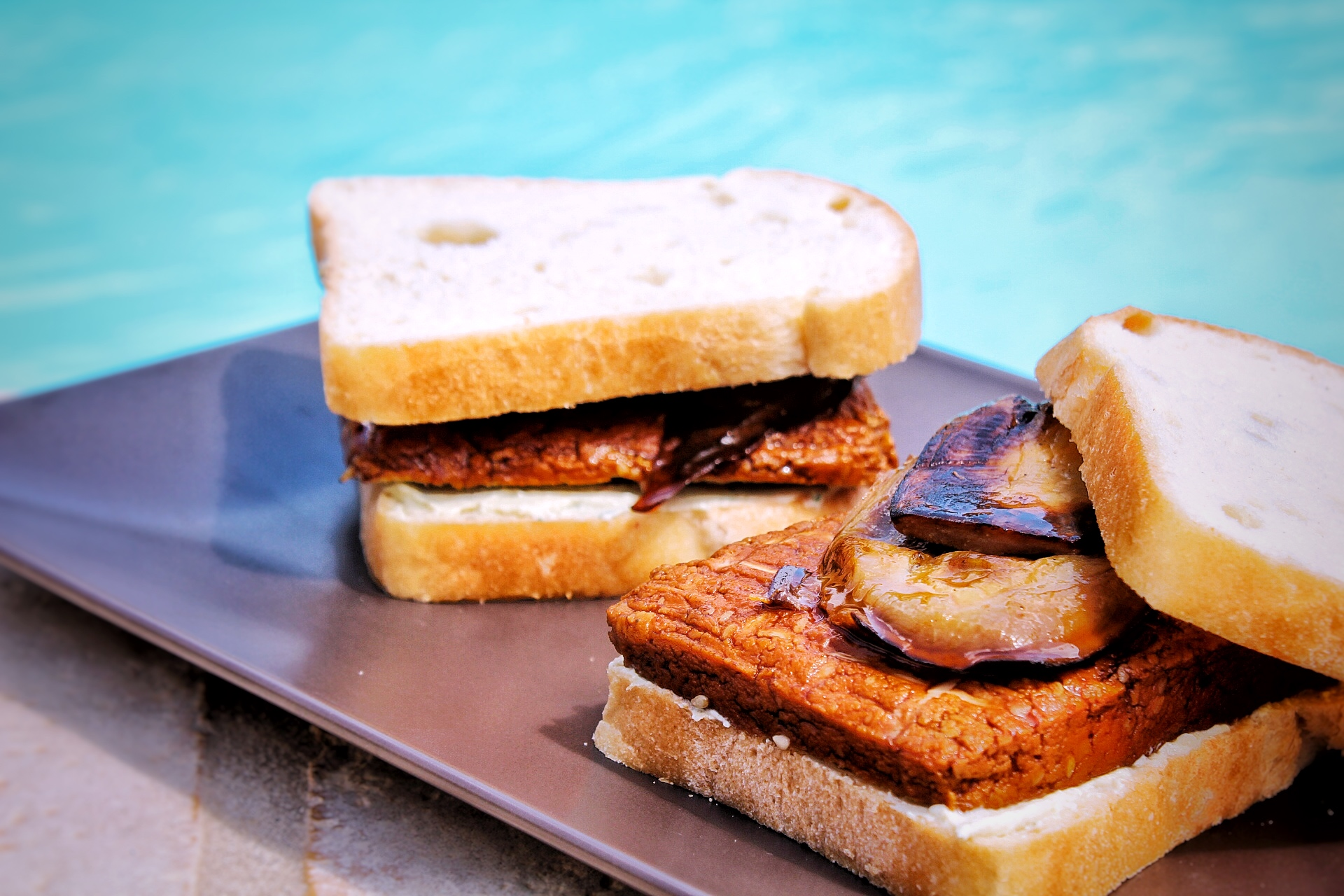 Sandwich tofu fumé aubergine sojami vegan sans gluten sans lactose bio