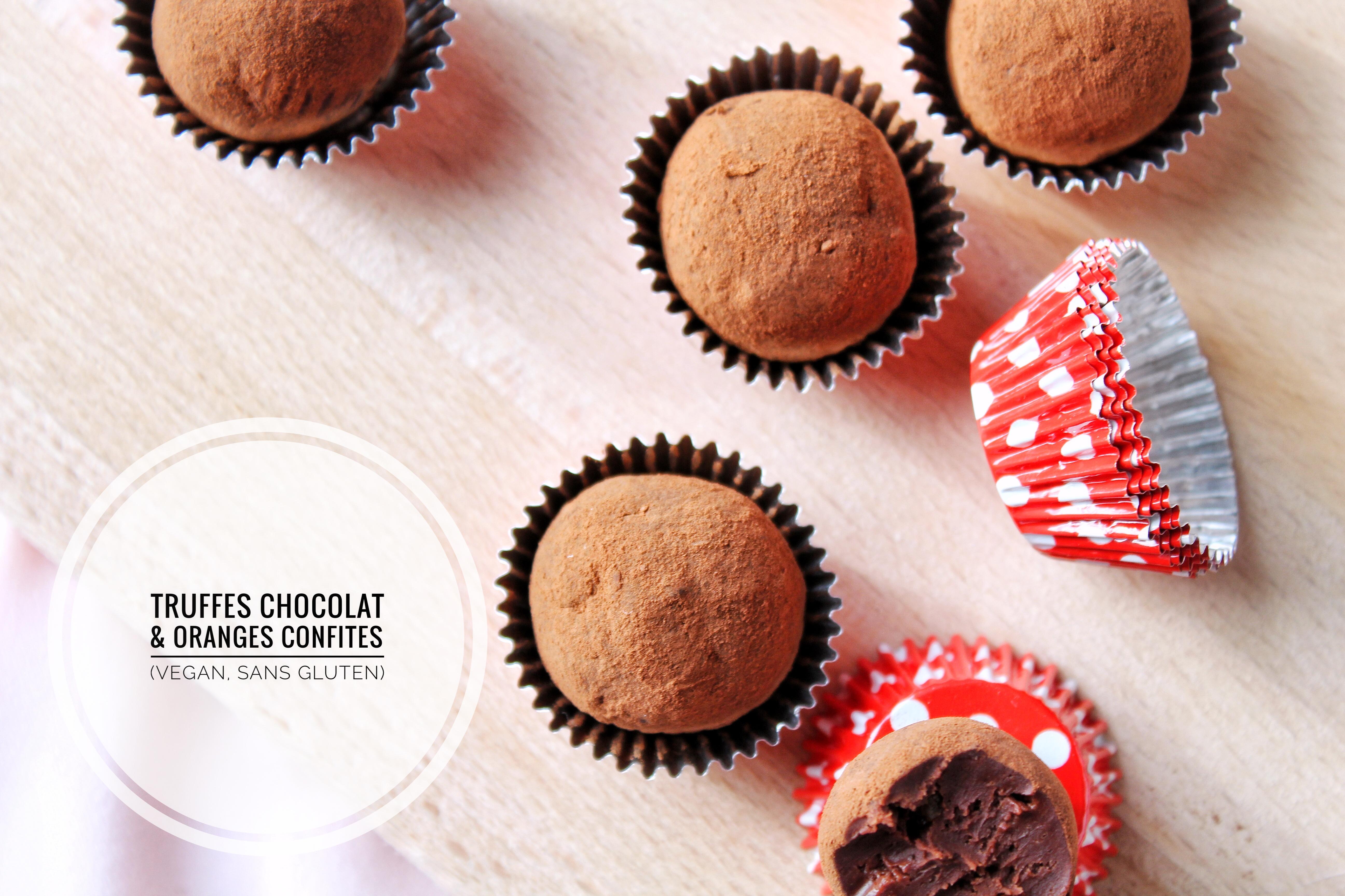 Truffes chocolat et oranges confites vegan, sans gluten, sans lactose