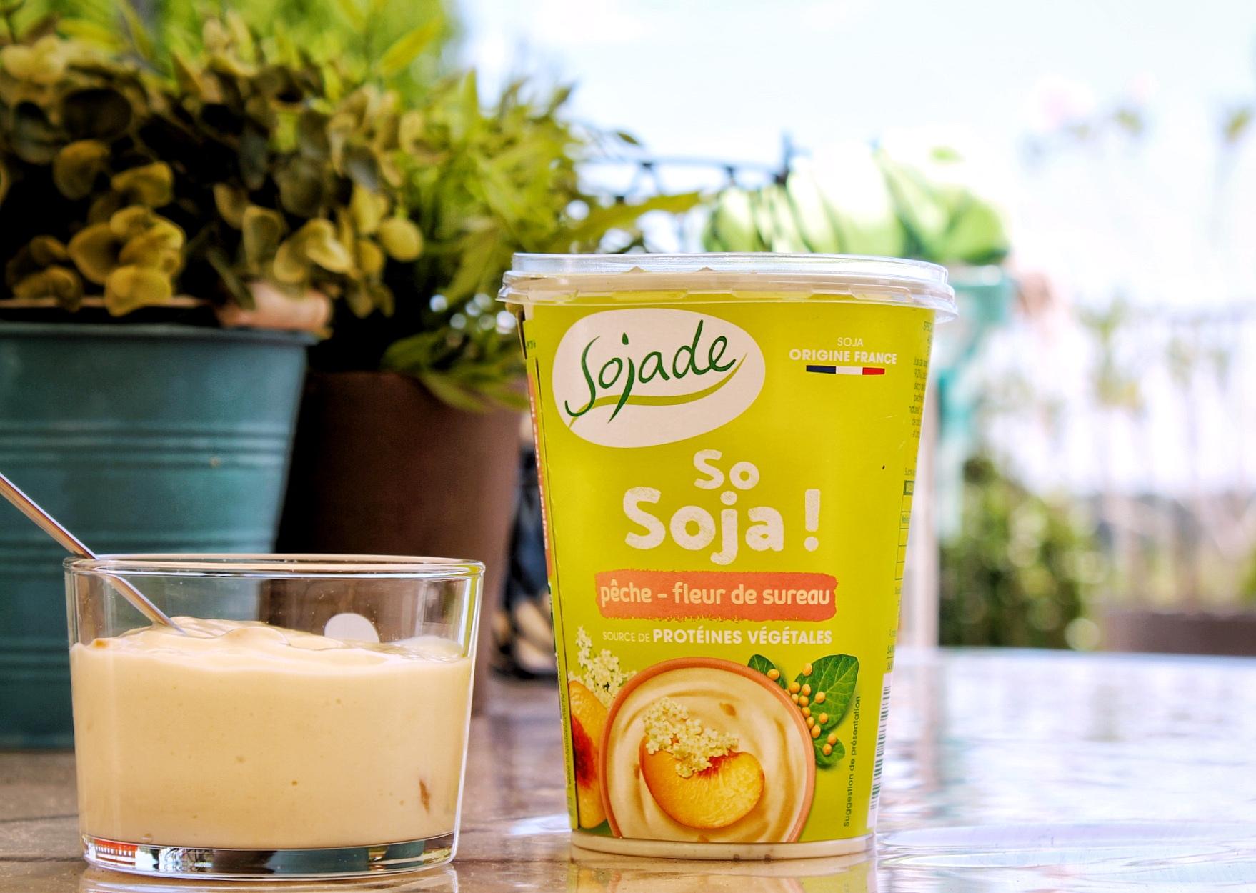 yaourt soja pêche fleur sureau vegan sans gluten sans lactose bio